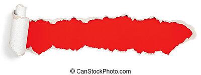 papier, chodnikowiec, otwór, porwany, czerwony