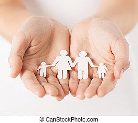 papier, człowiek, babski, rodzina, siła robocza