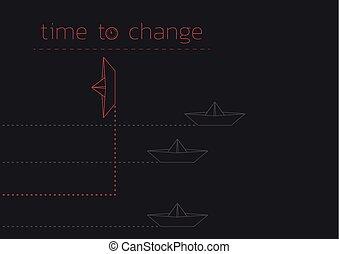 papier, fałdowy, zmiana, łódka, czas
