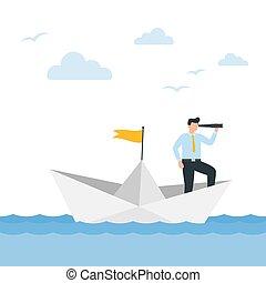 papier, handlowy dostosowują, płynie, wektor, illustration., teleskop, boat., człowiek