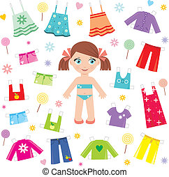 papier, komplet, lalka, odzież