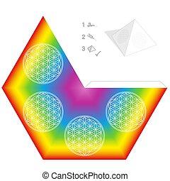 papier kwiat, wzór, tęcza, piramida, kolor, szablon, życie