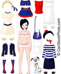 papier lalka, odzież