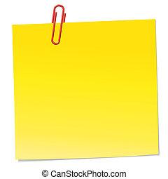 papier listowy, żółty, zacisk, czerwony