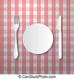 papier nóż, płyta, widelec, robiony, tablecloth