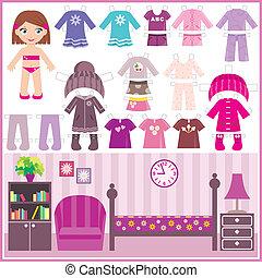 papier, odzież, komplet, lalka