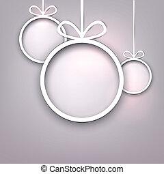 papier, okrągły, boże narodzenie, balls.