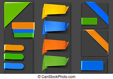 papier, origami, barwny, chorągwie