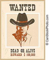 papier, poszukiwany, poster., rocznik wina, western