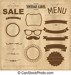 papier, rocznik wina, komplet, symbole, tło