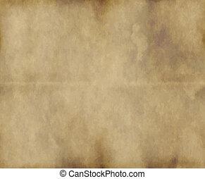 papier, stary, albo, pergamin
