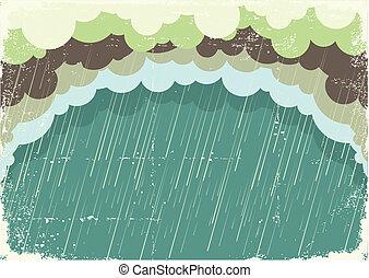 papier, stary, ilustracja, chmury, tło, padając, texture., rocznik wina