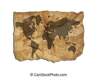 papier, stary, odizolowany, mapa, słowo