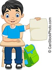 papier, student, dzierżawa, rysunek, chłopiec, czysty