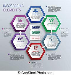 papier, sześcioboki, infographics