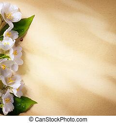 papier, sztuka, wiosna, tło, ułożyć, kwiaty