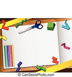 papier, tło., cięty, 3d, desktop