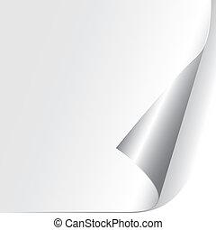 papier, ufryzowany, róg, (vector)