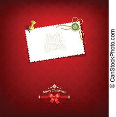 papier, wesoły, karta, boże narodzenie, biały