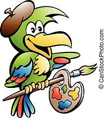 papuga, artysta, ilustracja, wektor, rysunek, malarz