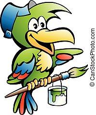 papuga, majster do wszystkiego, pracownik, ilustracja, wektor, rysunek, malarz