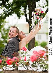 para, ślub, -, szczęśliwy