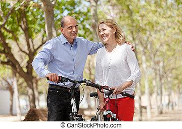 para, bicycles, pieszy, szczęśliwy