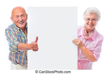 para, deska, czysty, uśmiechanie się, senior, szczęśliwy