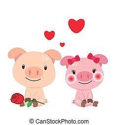 para, ilustracja, świnia
