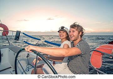 para, jacht, młody, żeglując