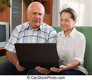 para, komputer, szczęśliwy, dojrzały
