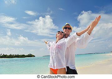 para, młody, danie zabawa, plaża, szczęśliwy
