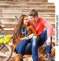 para piesza, szczęśliwy, młody, rower, jesień