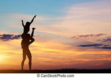 para, razem, czas, sunset., posiadanie, szczęśliwy