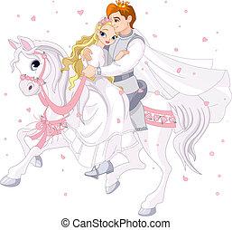 para, romantyk, koń, biały