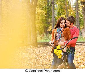 para, rower, młody, szczęśliwy