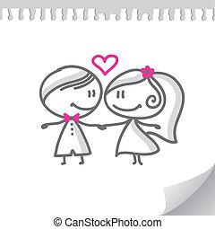 para, rysunek, ślub