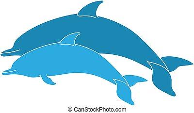 para, skokowy, delfiny