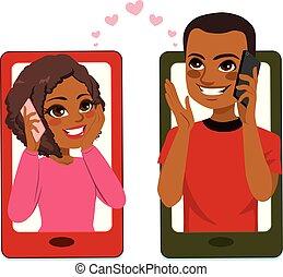 para, smartphone, miłość