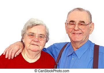 para, starszy, szczęśliwy