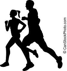 para, sylwetka, jogging