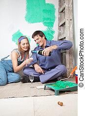 para, szampan, posiadanie, dojrzały, szczęśliwy