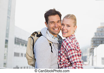 para, uśmiechanie się, aparat fotograficzny, biodro, młody