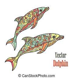 para., vector., delfiny