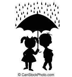 para, zawieszenie, parasol, dzieci, pod