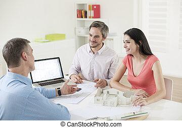 para, zbudowanie, spotkanie, młody, planista