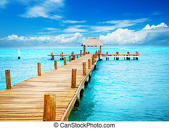 paradise., zwrotnik, mujeres, urlop, molo, meksyk, isla