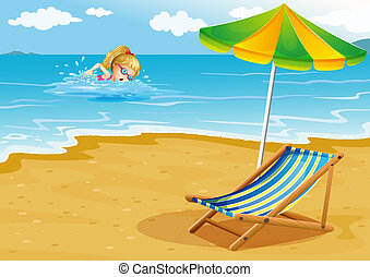 parasol, ilustracja, brzeg, dziewczyna, plażowe krzesło, pływacki