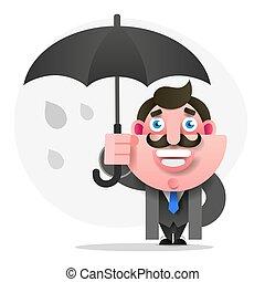 parasol, ilustracja, wektor, projektować, twój, człowiek