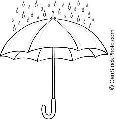 parasol, kontury, deszcz